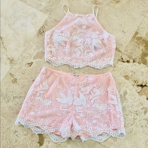 Blush & White Lace Set Crop Top and Shorts